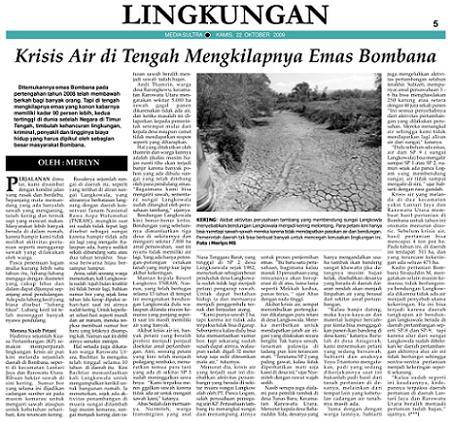 Insert Media Sultra 2009-10-20 Krisis Air di Tengah Mengkilapnya Emas Bombana